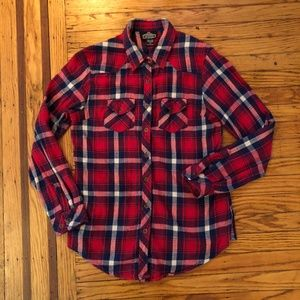 Angie Women's Red & Blue Flannel Top